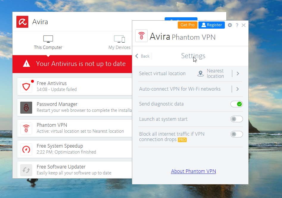 Avira Phantom VPN Settings