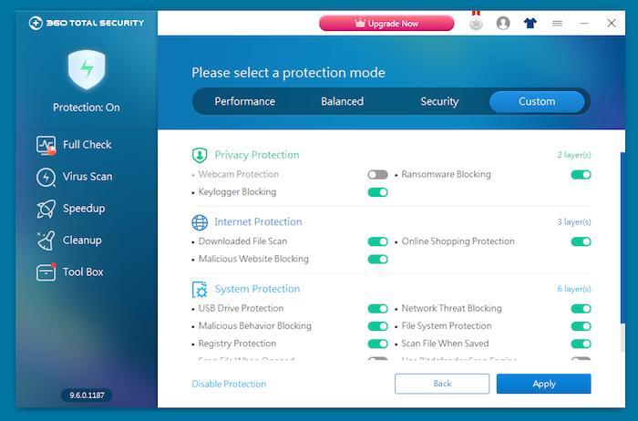 360 Total Security Antivirus custom protection mode
