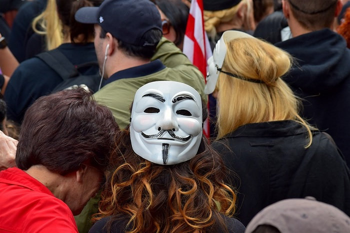 Protesters Wearing Guy Fawkes Masks