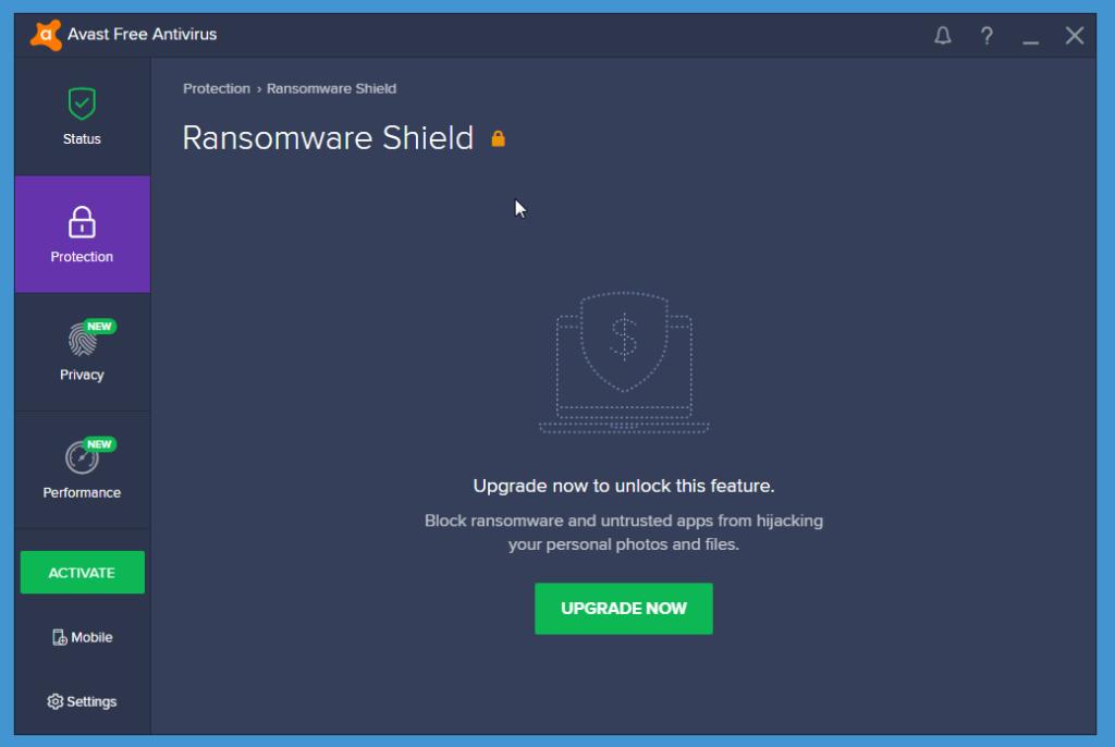 Avast Free Antivirus ransomware shield