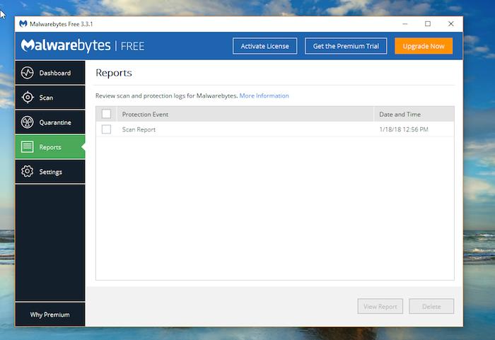 Malwarebytes Free Antivirus reports