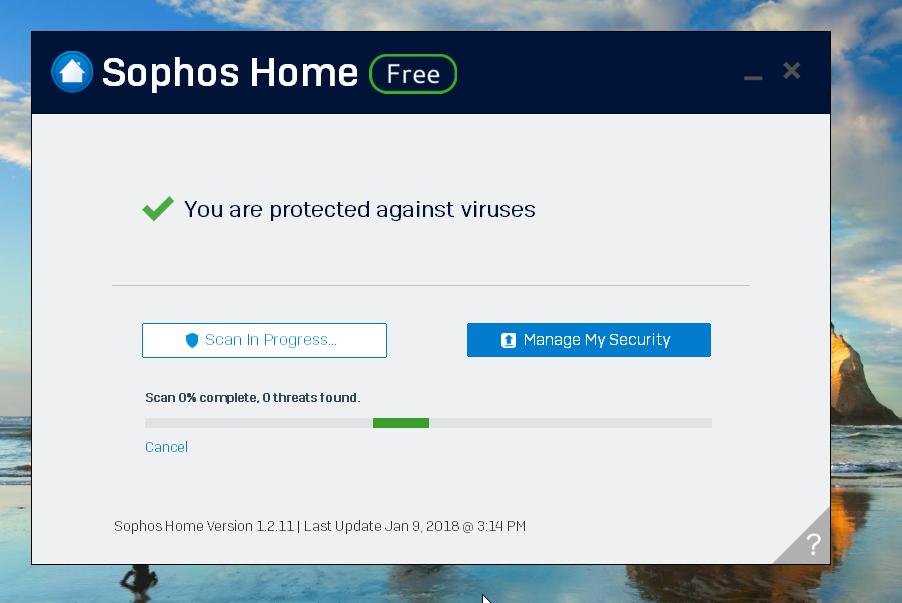 Sophos Home Antivirus Scan
