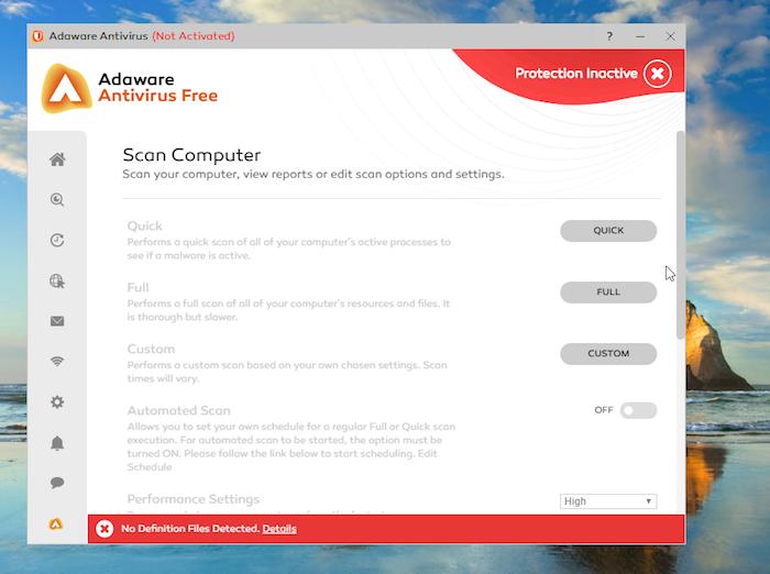 Adaware Antivirus Free scan options