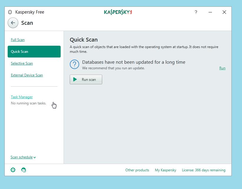 Kaspersky Free Antivirus Quick Scan