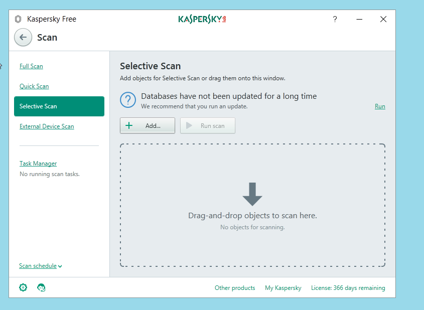 Kaspersky Free Antivirus Selective Scan