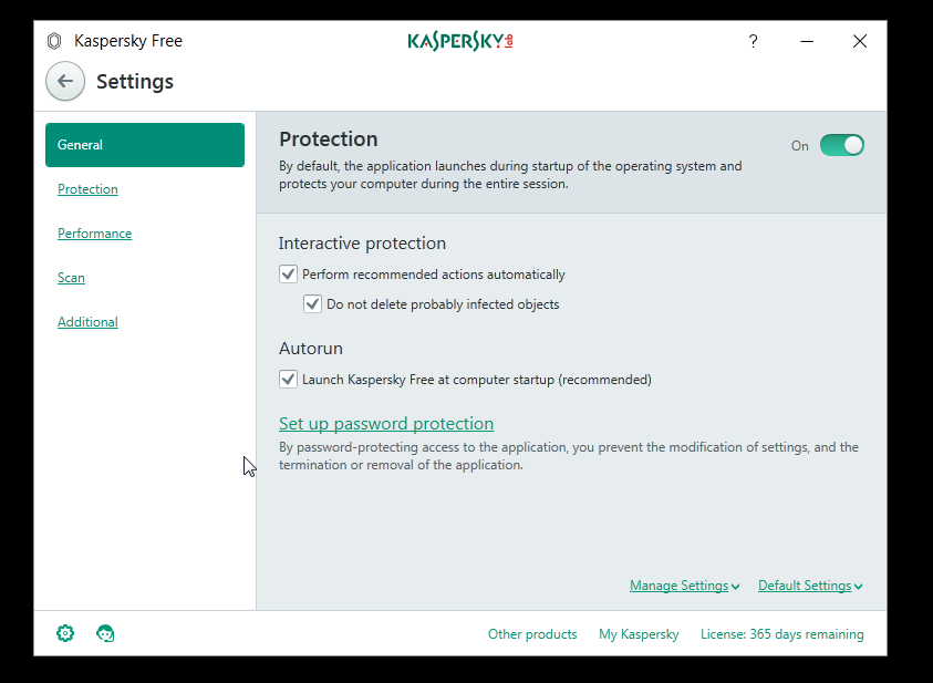Kaspersky Free Antivirus Settings