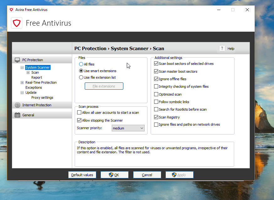 Avira Free Antivirus Settings