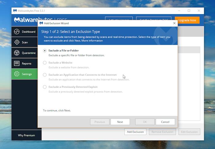 Malwarebytes Free Antivirus exclusions