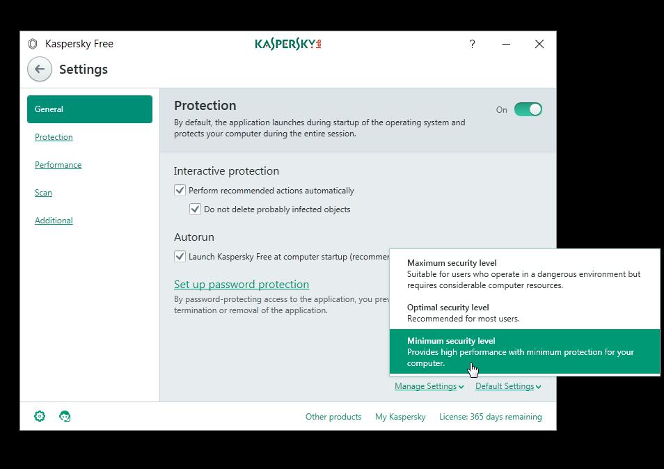 Kaspersky Free Antivirus Manage Settings