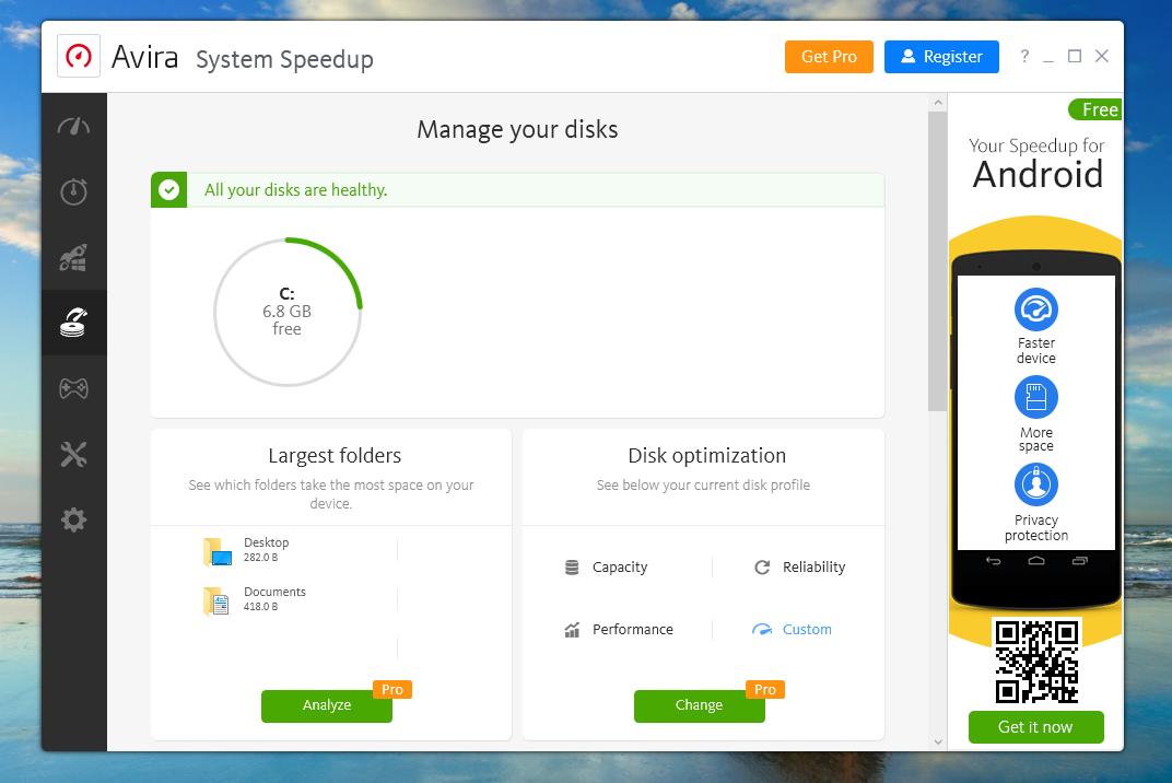 Avira Free Antivirus Disk Management