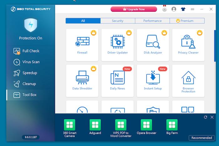 360 Total Security Antivirus tool box
