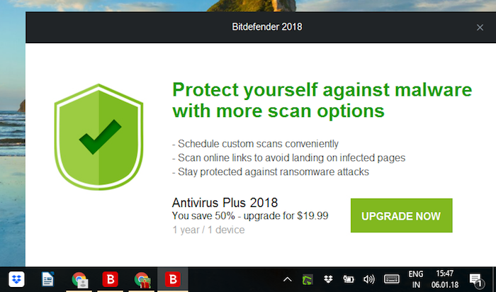Bitdefender upgrade screen