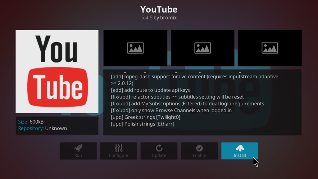 YouTube Kodi Addon - Install