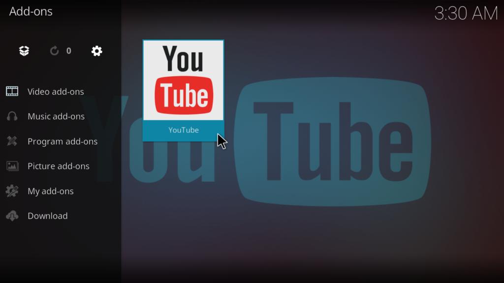 YouTube Kodi Addon - Access the add-on