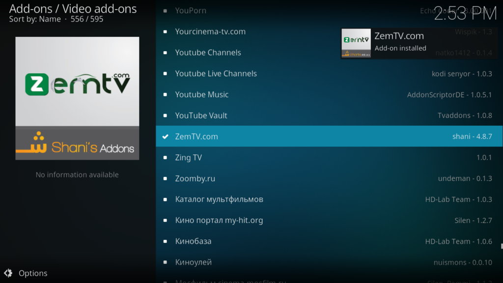 Zem TV Kodi Addon - Notification