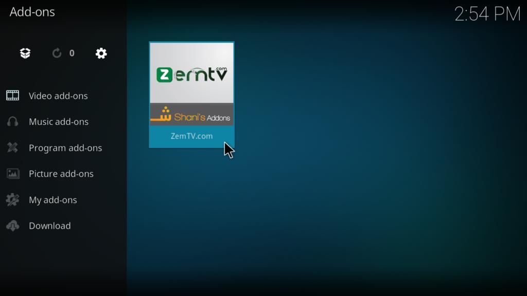 Zem TV Kodi Addon - Successfully Installed