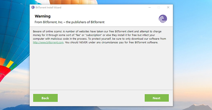 BitTorrent Online Scam Warning
