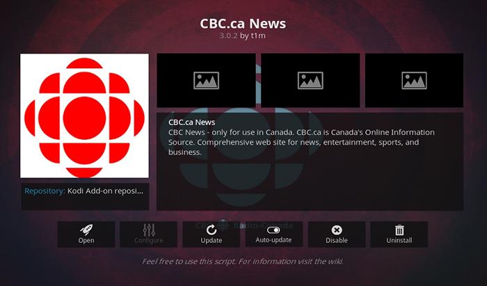 CBC News Kodi Addon