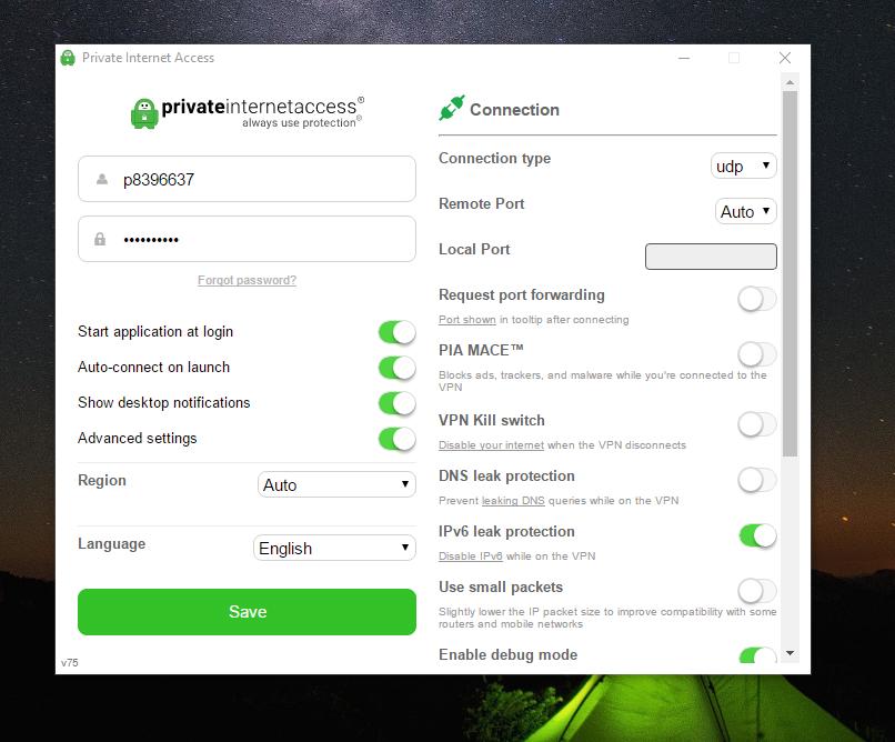 Private Internet Access VPN Advanced Settings