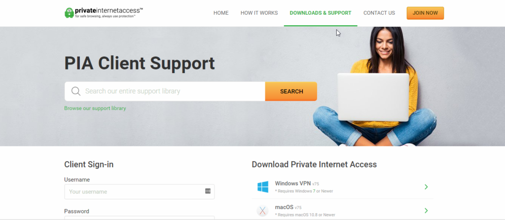 Private Internet Access VPN Client Support