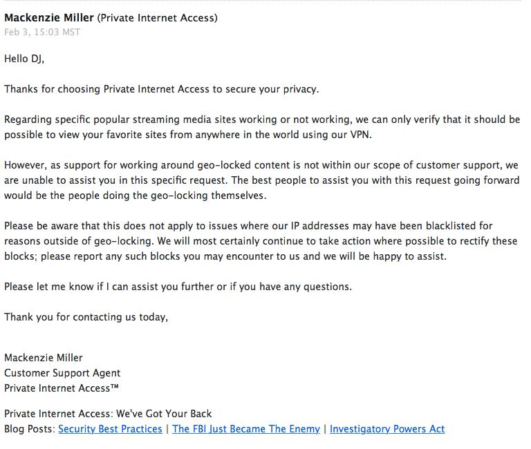 Private Internet Access VPN Customer Service Response