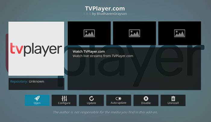 TVPlayer Kodi Addon
