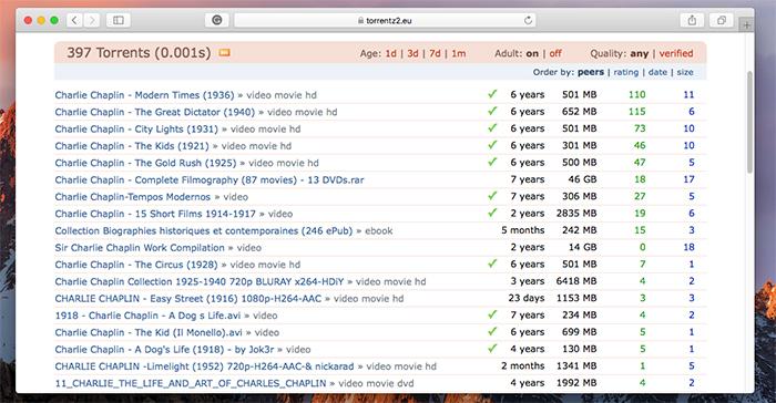 Torrentz2 Result Listing