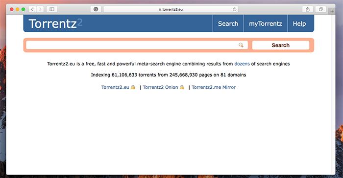 Torrentz2 Torrent Search Engine
