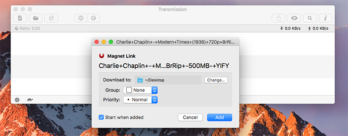 Transmission Mac Dialog Box