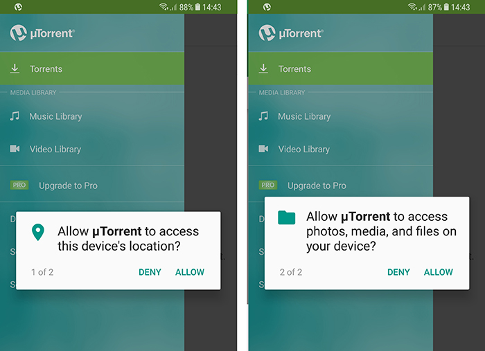 uTorrentアプリの権限