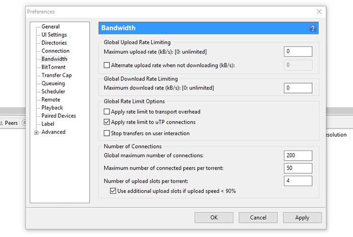 uTorrent Bandwidth Options