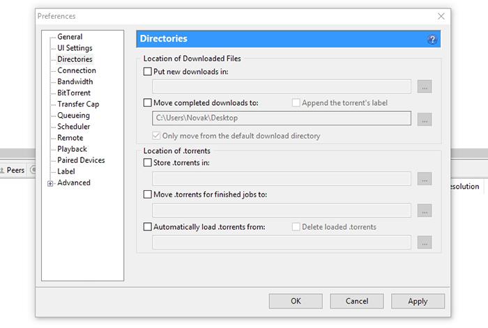 uTorrent Directories Options
