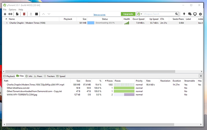 uTorrent Download Progress