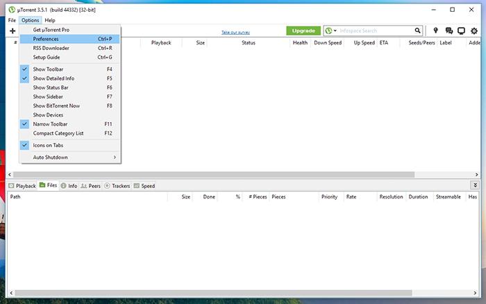 uTorrent Options Preferences