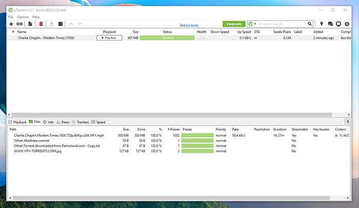 uTorrent Seeding