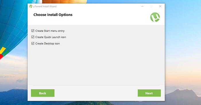 uTorrent Shortcut Selection