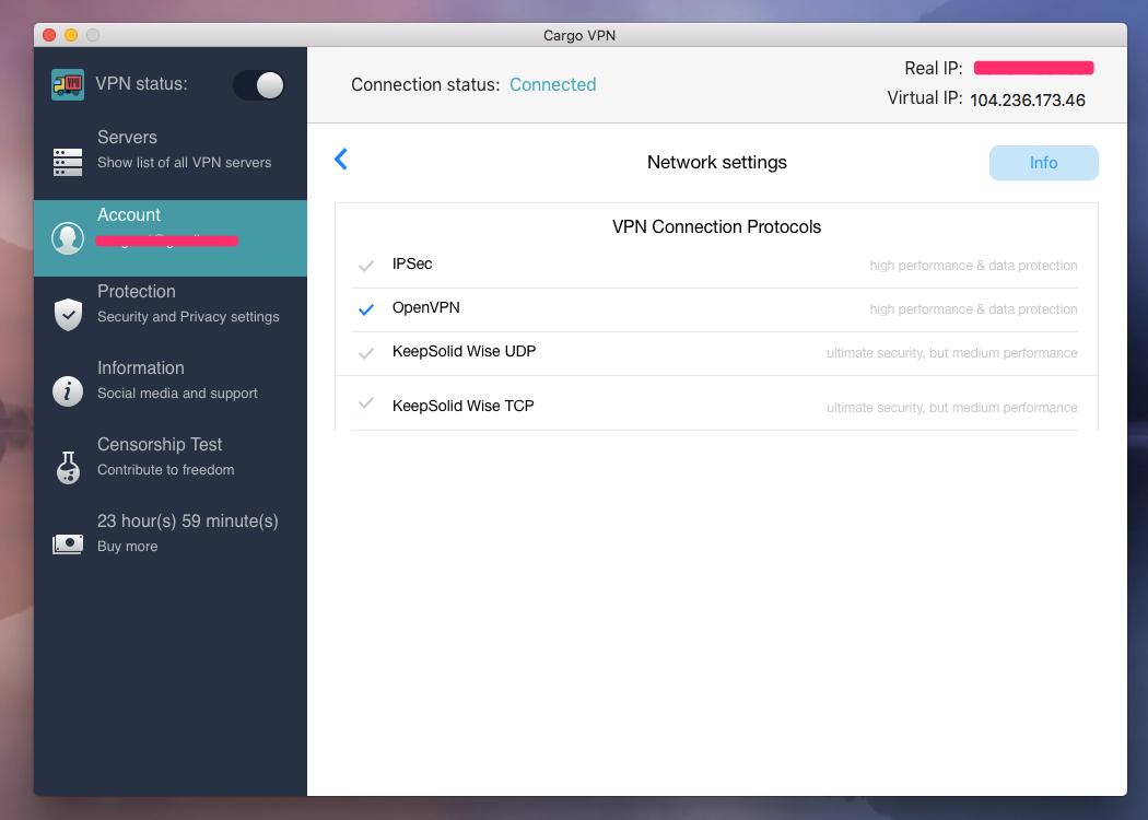 Cargo VPN Network Settings