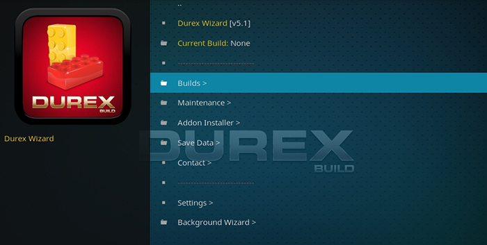 Durex Kodi Build -Durex Build Menu