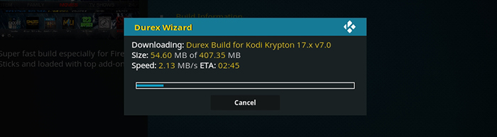 Durex Kodi Build -Durex Wizard Downloading