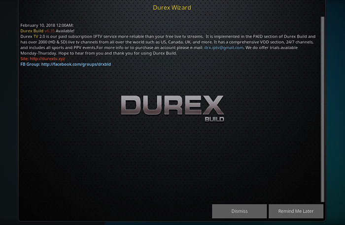Durex Kodi Build -Warning