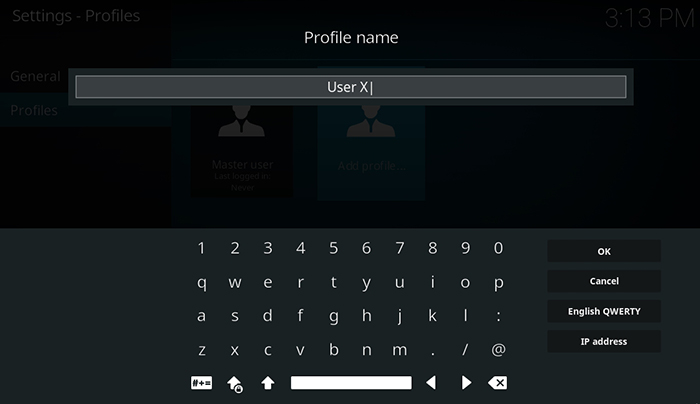 How to Setup Kodi Profiles - Profile Name