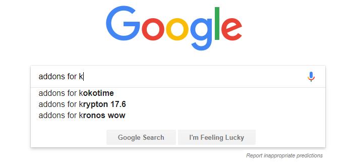 Google Kodi Autocomplete Addons