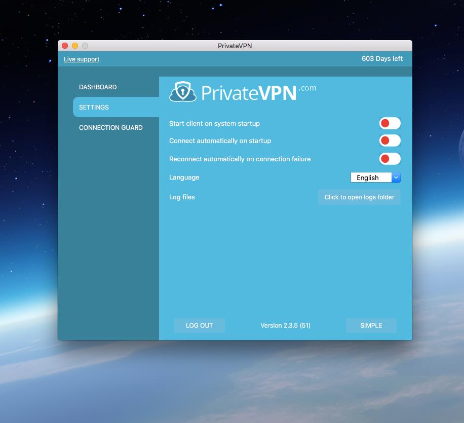 PrivateVPN Settings