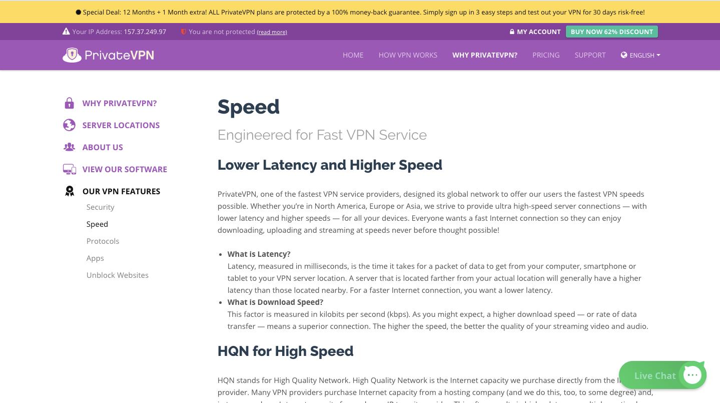 PrivateVPN Speed
