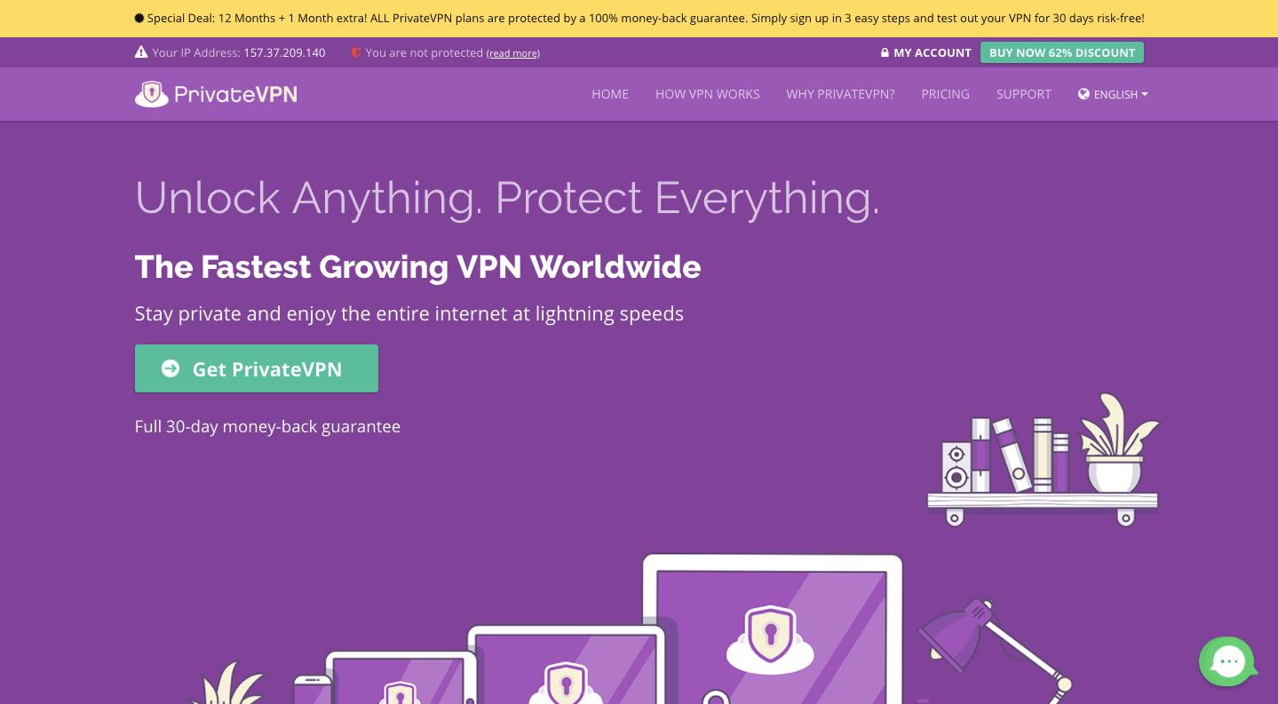 PrivateVPN Website
