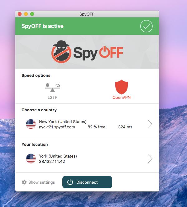 SpyOFF VPN Active