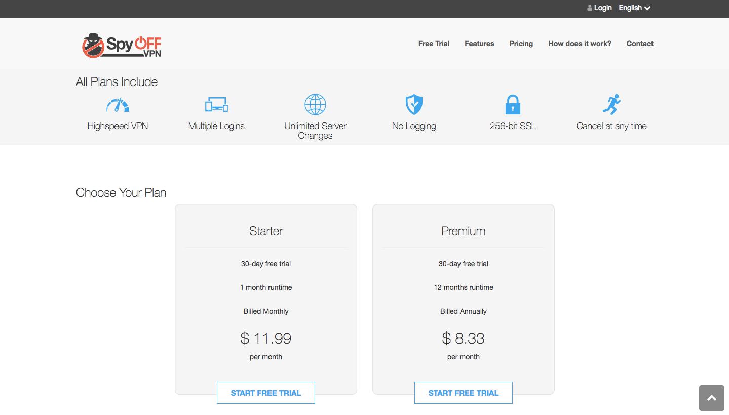 SpyOFF VPN Pricing
