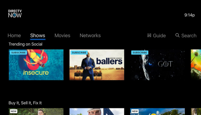 DirecTV Now interface