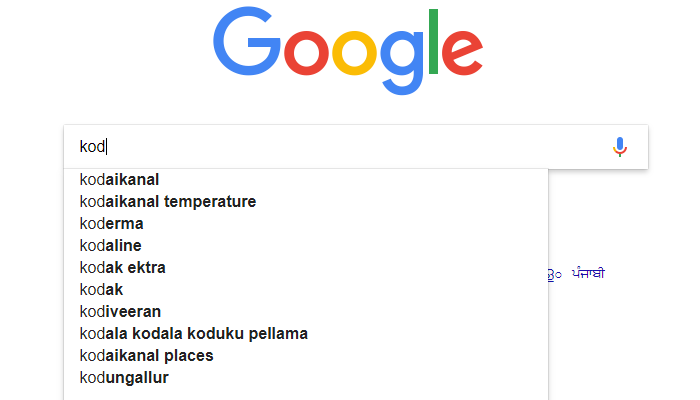 Google Kodi Autocomplete