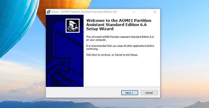 AOMEI Partition Assistant -Installation Step 1